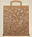 Food icons on paper bag Royalty Free Stock Photography
