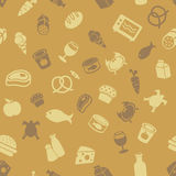 Food icons pattern. Grocery and food icons seamless pattern stock illustration