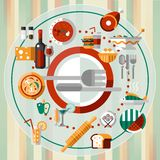 Food icons plate Royalty Free Stock Photography