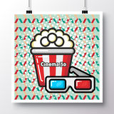 Food icons_poster on a vintage pattern background_38. Poster with icon popcorn and glasses and phrase-cinema 3d on a vintage pattern background. Vector Royalty Free Stock Photo