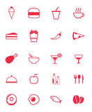 Food Icons in red Royalty Free Stock Images