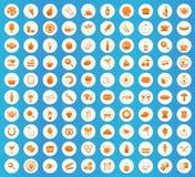 Food icons round set Royalty Free Stock Image