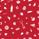 Food icons seamless vector pattern Royalty Free Stock Photo