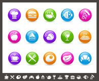 Food Icons - Set 1 of 2 // Rainbow Series. Vector icons for your web or printing projects Stock Photos
