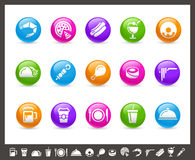 Food Icons - Set 2 of 2 // Rainbow Series. Vector icons for your web or printing projects Royalty Free Stock Photo