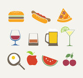 Food Icons Set Royalty Free Stock Photos