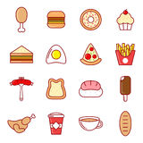 Food Icons. Set of 16 Food Icons Royalty Free Stock Photos