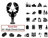 24 Food Icons. Set of 24 Food Icons in Black Color Stock Photography