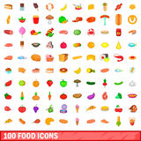 100 food icons set, cartoon style Royalty Free Stock Photo