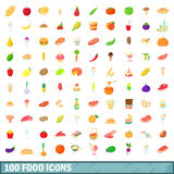 100 food icons set, cartoon style Stock Photography