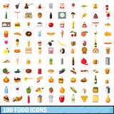 100 food icons set, cartoon style. 100 food icons set in cartoon style for any design vector illustration stock illustration