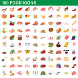 100 food icons set, cartoon style Royalty Free Stock Photography
