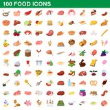 100 food icons set, cartoon style. 100 food icons set in cartoon style for any design illustration royalty free illustration