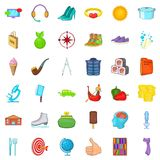 Food icons set, cartoon style. Food icons set. Cartoon style of 36 food vector icons for web isolated on white background Stock Photos