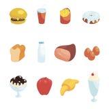 Food Icons Set, cartoon style Royalty Free Stock Photo