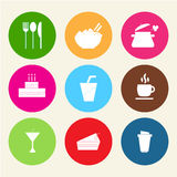 Food icons. Set color flat  icons of food and drinks Stock Photography