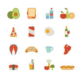 Food icons. Set of colorful food icons, isolated on white Stock Photography