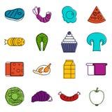 Food icons doodle set Stock Photos