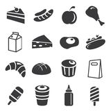 Food icons. Set of 16 food and drink icons Stock Images