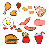 Food icons set , Fast food icons set , fast food on isolated background - Fast food. Flat design. Vector Illustration Royalty Free Stock Images