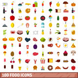 100 food icons set, flat style Royalty Free Stock Image