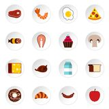 Food icons set, flat style Royalty Free Stock Photos