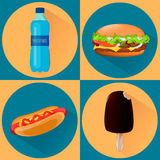 Food icons. Set of four illustrations Royalty Free Stock Image