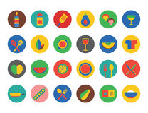 Food Icons set. Fruit, kitchen, food and drinks Stock Images