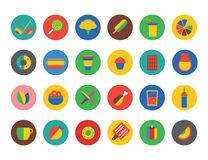Food Icons set. Fruit, kitchen, food and drinks Royalty Free Stock Photography