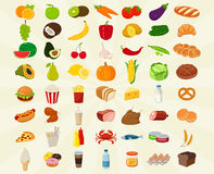 Food icons set. Fruits and Vegetables icons. Fast food icons. Modern flat design. Vector Stock Photo