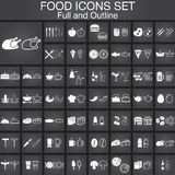 Food icons set. Full and Outline versions Royalty Free Stock Image