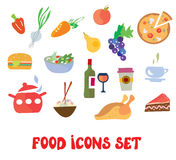 Food icons set -  funny design Stock Photos