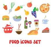 Food icons set -  funny design Stock Photos