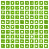 100 food icons set grunge green. 100 food icons set in grunge style green color isolated on white background vector illustration Stock Image