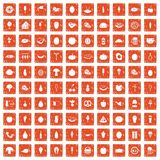 100 food icons set grunge orange. 100 food icons set in grunge style orange color isolated on white background vector illustration Royalty Free Stock Photo