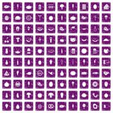 100 food icons set grunge purple. 100 food icons set in grunge style purple color isolated on white background vector illustration Vector Illustration