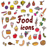 Food icons set - hand drawn design Royalty Free Stock Image
