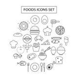 Food icons set illustration Royalty Free Stock Photo