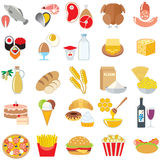 Food  icons set isolated. Set of food icons isolated design illustration Royalty Free Stock Photos