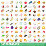 100 food icons set, isometric 3d style Royalty Free Stock Image