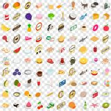 100 food icons set, isometric 3d style Stock Images