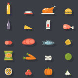 Food Icons Set Meat Fish Vegetables Drinks For Royalty Free Stock Images
