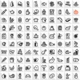 Line food icons set royalty free illustration