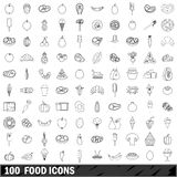 100 food icons set, outline style Royalty Free Stock Photo