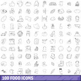 100 food icons set, outline style. 100 food icons set in outline style for any design vector illustration Royalty Free Stock Photo