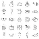 Food icons set, outline style. Food icons set. Outline set of 25 binge vector icons for web isolated on white background Royalty Free Stock Photography
