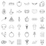 Food icons set, outline style. Food icons set. Outline style of 36 food vector icons for web isolated on white background Royalty Free Stock Images