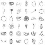 Food icons set, outline style. Food icons set. Outline style of 36 food vector icons for web isolated on white background Stock Photo