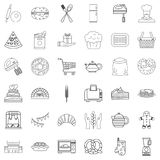 Food icons set, outline style Royalty Free Stock Photo
