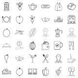 Food icons set, outline style Royalty Free Stock Photography